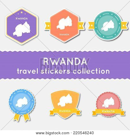 Rwanda Travel Stickers Collection. Big Set Of Stickers With Country Map And Name. Flat Material Styl
