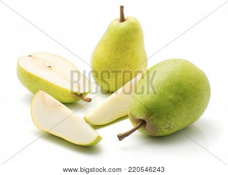 Green pears stack isolated on white background two whole one half two slices poster
