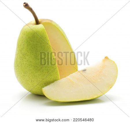 Open green pear and one slice isolated on white background poster