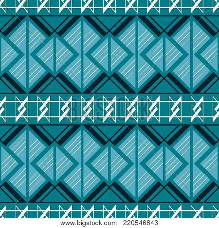 Abstract seamless complex pattern of wide horizontal stripes with triangular geometric elements in blue and white colors