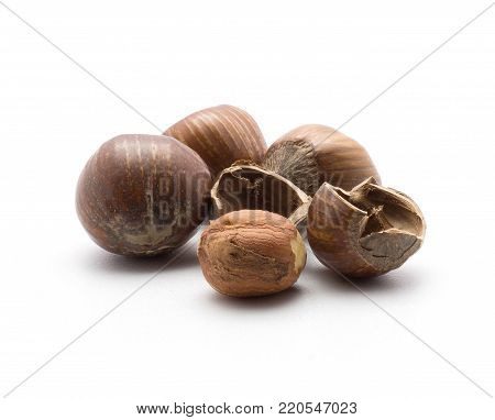 Three unshelled hazelnuts with one shelled and two hollow shell halves isolated on white background