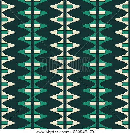Abstract seamless geometric pattern with thick vertical zigzag, stripes and triangular shapes in yellow and green colors
