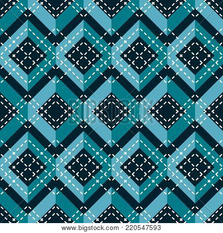 Complex seamless pattern of blue zigzag with cross white stitching. Abstract geometric print for fabric, paper and other
