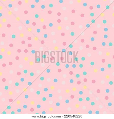Colorful Polka Dots Seamless Pattern On Bright 9 Background. Breathtaking Classic Colorful Polka Dot