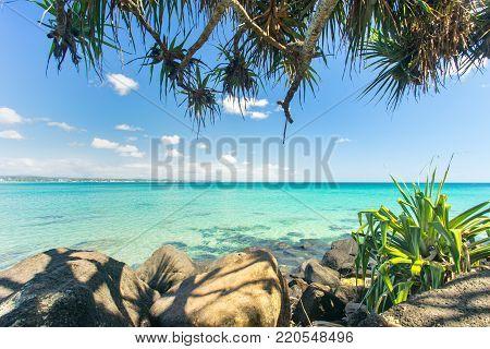 Amazing blue water at Greenmount beach in Coolangatta on the Gold Coast in Queensland, Australia