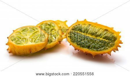 Sliced kiwano isolated on white background one cross section and three slices