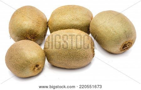 Group of five whole fuzzy kiwi fruits (Chinese gooseberry) isolated on white background