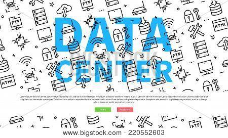 Data server centre website page vector illustration. Data center network equipment line art pattern creative concept. Data center network infrastructure wide screen template graphic design.