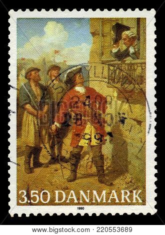 DENMARK - CIRCA 1990: A stamp printed in Denmark shows a painting