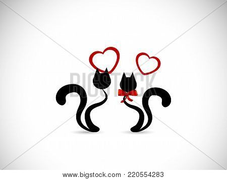 Silhouettes of two black cats in love  - vector illustration