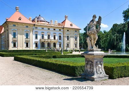SLAVKOV, CZECH REPUBLIC - JUNE 19 - baroque castle (national cultural landmark) on June 19, 2014 in Slavkov - Austerlitz near Brno, South Moravia, Czech republic.