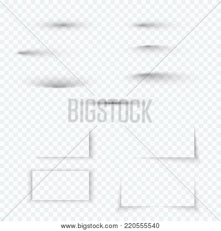 Transparent soft shadow set. Realistic abstract shadow effect collection with soft edge. Vector illustration isolated on transparent background