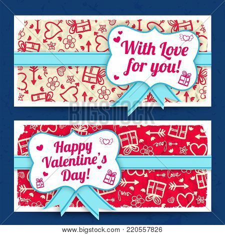 Romantic amorous horizontal banners with ribbon bow sticker on crumpled paper sketch icons background isolated vector illustration