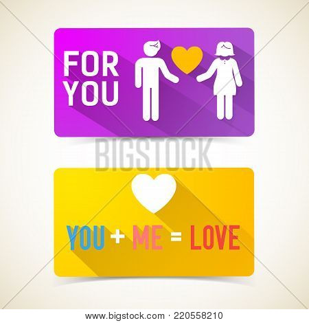 Romantic flat horizontal banners with inscriptions couple in love and amorous formula isolated vector illustration