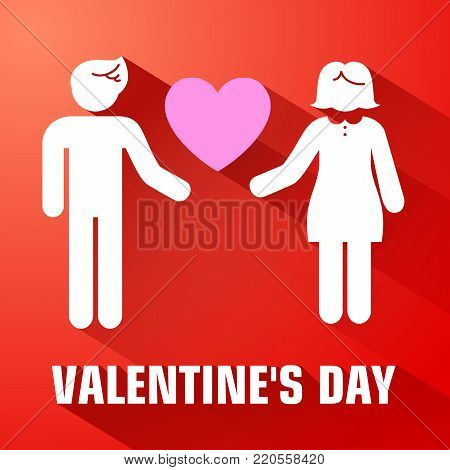 Amorous romantic template with couple in love pink heart and long shadows on red background vector illustration
