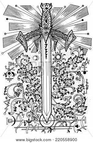 Graphic illustration with sword and mysterious symbols. Fantasy and secret societies emblems, occult and spiritual mystic drawings. Tattoo design, new world order