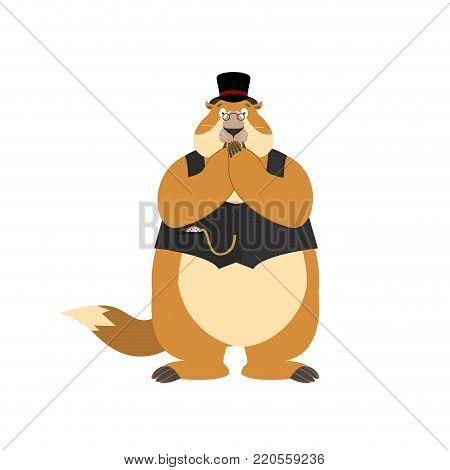 Groundhog day. Groundhog in Hat scared OMG. Woodchuck Oh my God emoji. Frightened Marmot. Vector illustration