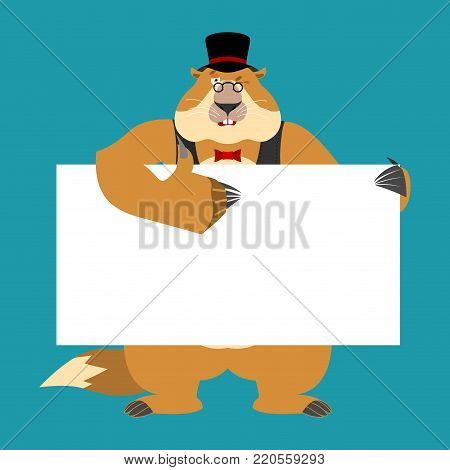 Groundhog day. Groundhog in hat holding banner blank. Woodchuck and white blank. Marmot thumb up and winks joyful emotion. place for text.  Vector illustration