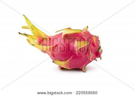 Vivid and Vibrant Dragon Fruit isolated on white background.