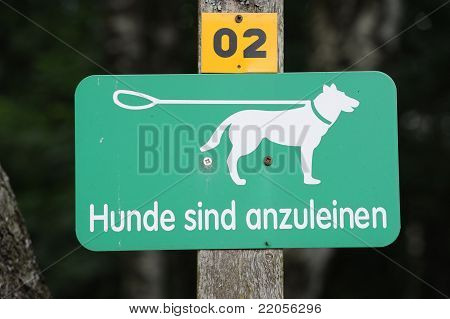 Signboard To Leash A Dog