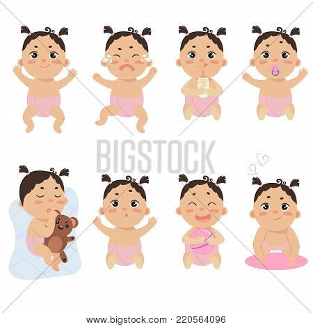 Set with cute little baby in diaper with different emotions. Various face expressions. Happy newborn, infant cry, hold teddy bear, sleeping child, sad and crying girl, screaming baby. Colorful vector.
