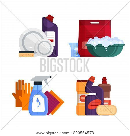 Cleaning service. Set house cleaning tools isolated on white background. Detergent and disinfectant products for dishwashing, laundry, washing windows and toilet cleaning, baths, household equipment - flat vector illustration.