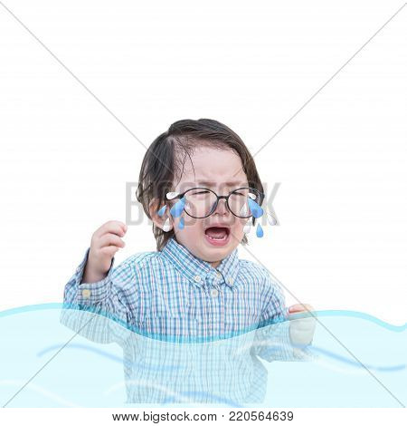 Closeup sad asian kid cry because he want something isolated on white background