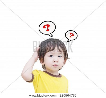 Closeup cute asian kid in confuse motion with question mark sign isolated on white background