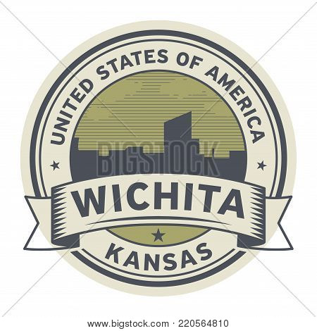 Stamp or label with name of Wichita, Kansas, USA, vector illustration