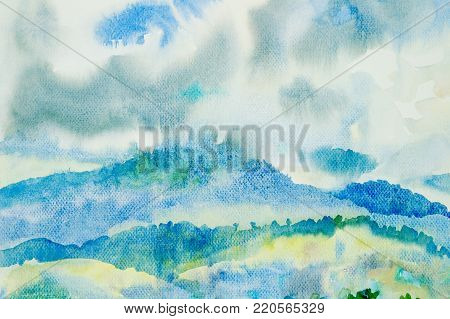 Watercolor painting original landscape colorful of  mountain and beauty nature winter blue sky with cloud background. Hand Painted Impressionist, illustration.