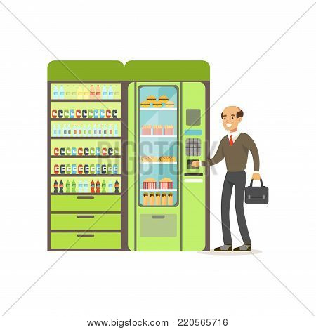 Businessman using automatic vending machine with fast food vector Illustration isolated on a white background
