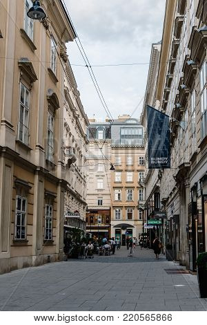 Vienna,  Austria - August 16, 2017: Wallnerstrasse, a luxury commercial street in historical city center of Vienna near Hofburg Palace. Vienna is one of the most prosperous city in the world.