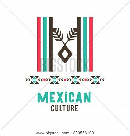 Mexican culture logo. Poster for country of history, traditions, community, trendy M letter in ethnic original design, holiday card for celebration. Vector illustration