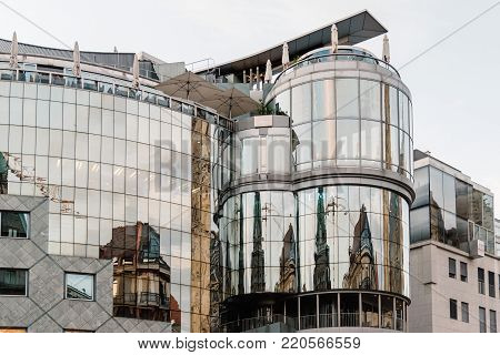 Vienna,  Austria - August 16, 2017: Low angle view of Haas House building in Stephenplatz. Designed by the Austrian architect Hans Hollein, it is a building in the postmodernist style.