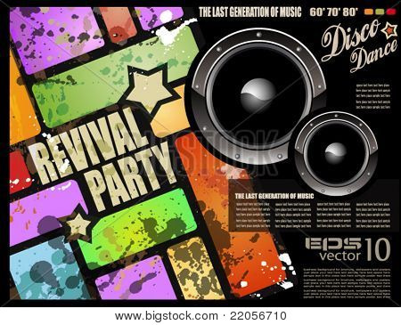 Retro' revival disco party flyer or poster for musical event of 1960/1980 period!