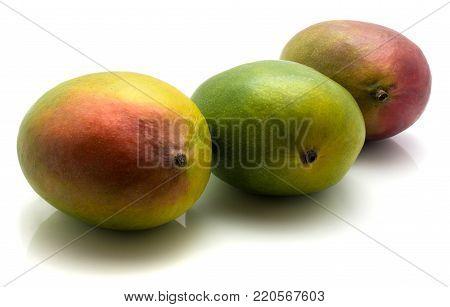 Mango isolated on white background three ripe