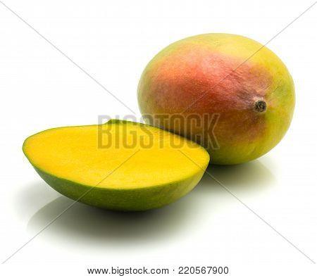 Mango sweet isolated Mango isolated on white background one whole one half