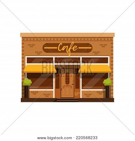 Cafe facade, restaurant building with showcase vector Illustration on a white background