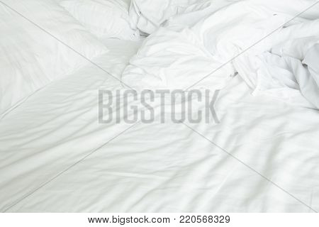 View of an unmade bed is used