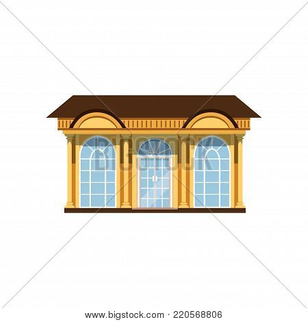 Boutique with showcases, store facade vector Illustration on a white background