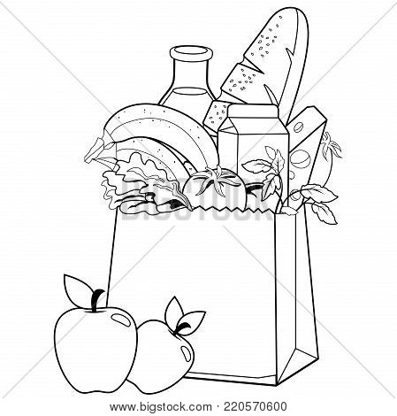 Paper bag with groceries: milk, bread, fruits, vegetables and cheese. Coloring book page
