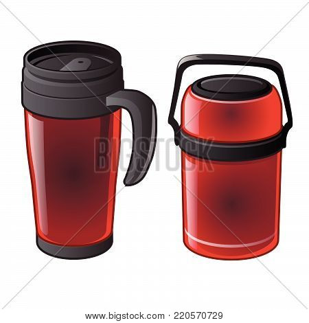 Red thermo mug and thermos.  Vector cartoon close-up illustration.