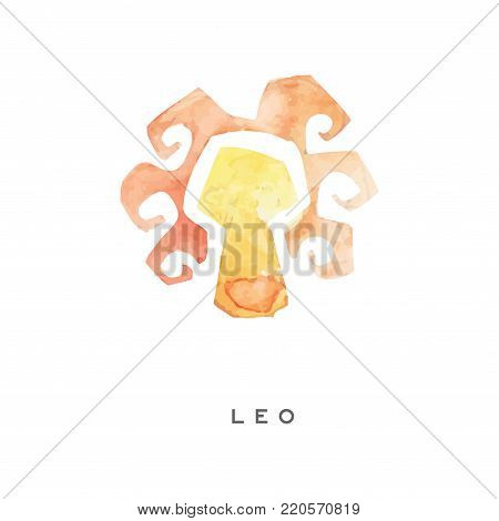 Leo zodiac sign, part of zodiacal system watercolor vector illustration isolated on a white background with lettering
