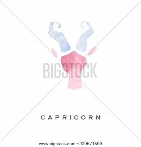 Capricorn zodiac sign, part of zodiacal system watercolor vector illustration isolated on a white background with lettering