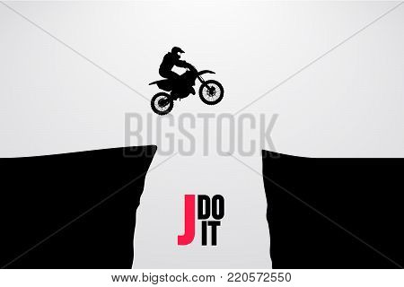 Motocross drivers silhouette. Background and text on a separate layer, color can be changed in one click. Vector illustration
