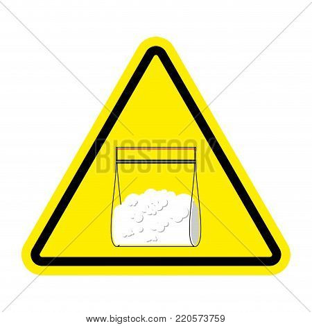 Attention sign Drugs. Cocaine plastic bag isolated. Vector illustration
