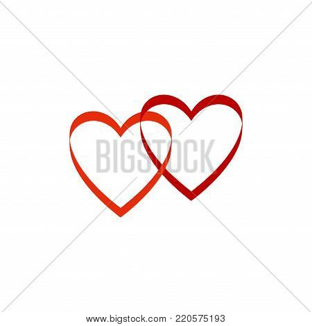 Heart two sign on white background. Romantic symbol linked, join, love, passion and wedding. Template for t shirt, apparel, card, poster. Design element of valentine day. Vector illustration