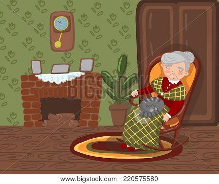 Grandma Sleeping Cozy Vector & Photo (Free Trial)   Bigstock