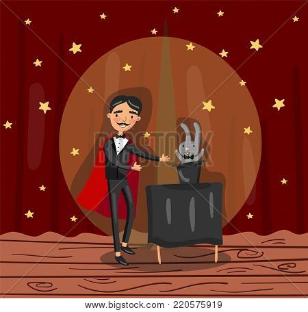 Magician wizard character showing focus on theater stage colorful vector illustration.