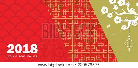 happy chinese new year. chinese banner with traditional patternsvector illustration